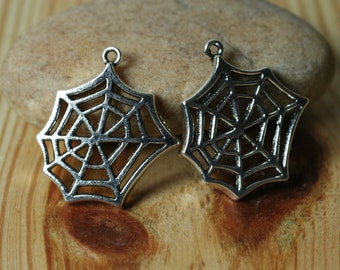 Closeout Antique silver tone spider wed charm size 24x20mm, 6 pcs (item ID YD2563ST)