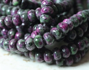 ruby zoisite rondelle 8mm 15-inch strand (item ID RZRN8)