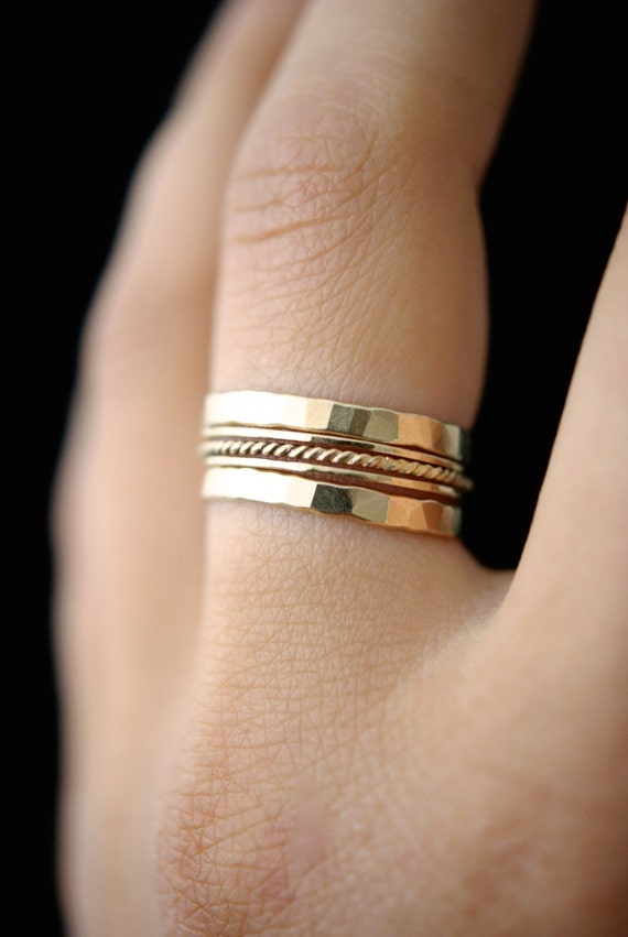 SOLID 14K Gold Twist stacking ring set of 5 14K gold ring