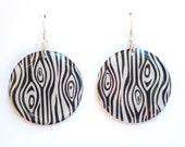 Grey Tree Bark Design Large Resin Earrings