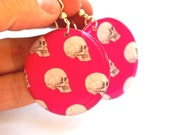 Hot Pink With Skulls Large Resin Earrings