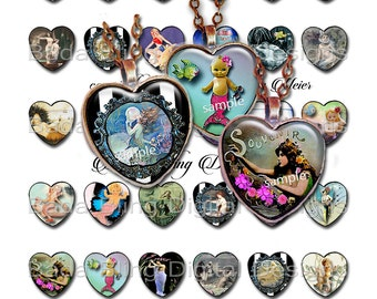 25mm hearts, Mermaids, digital collage sheets, heart pendants, INSTANT  Digital Download at Checkout, mermaid jewelry,mermaids
