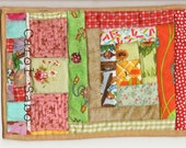 happy  scrappy log cabin mug rug mini quilt doll bed quilt