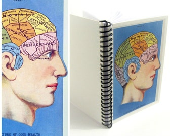 Phrenology A6 Diary Spiral Notebook, Natural History, Spiral Bound Writing Pocket Journal, Back to School Gift, Graduation Gift Under 15