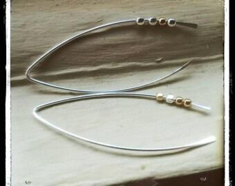 Rustic Spinnerette Argentium Sterling Silver Teardrop Wishbone Open Hoop Hammered Earrings