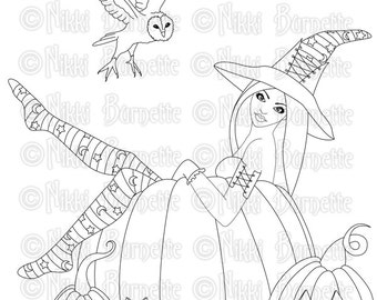 Digital Stamp - Printable Coloring Page - Fantasy Art - Witch Stamp - Adult Coloring Page - Zoe - by Nikki Burnette - PERSONAL USE