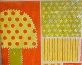 groovy 1970's paper table cover mod mushrooms orange and yellow