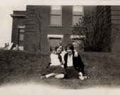vintage photo Young Flapper ERa Gals Teenagers Affectionate Sit on Grass of School