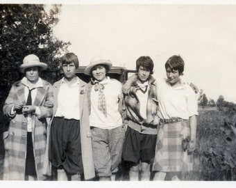 Vintage Photo Print Gang of Girlfriends Tomboy Flapper Era Young Women