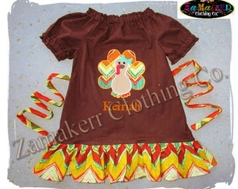 Girl Fall Thanksgiving Turkey Dress Custom Boutique Clothing Pageant Baby Toddler Outfit Size 3 6 9 12 18 24 month size 2T 3T 4T 5 6 7 8 Set
