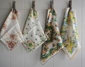 vintage handkerchiefs, florals, old hankies, lot of four hankies