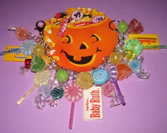 Halloween Charm Bracelet Candy Gumdrops Lollipops Chocolate Bars Sweet Treats Chunky Fun OOAK Loaded Statement Bracelet Adult Teen Tween