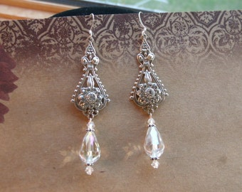 Wedding Victorian Chandelier Crystal White Rhinestone silver earrings