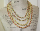 Four Strand Braided Fabric Necklace Garden Colors