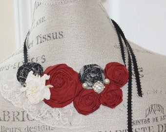Fabric Rosette Bib Necklace Gothic Inspired Statement or Wedding Piece OOAK