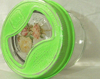 destash vintage ball half pint wide mouth canning jar glass insert lid aluminum band peach victorian roses bright lime green shabby chic