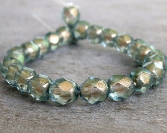 6mm Halo Heavens Czech Glass Faceted Round Bead : 25 pc Czech Round Bead