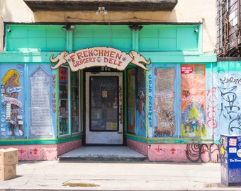Frenchman Grocery & Deli, Frenchman Street Photo, Colorful New Orleans Art, Graffiti Wall Art, Urban Decay Photo, Funky Modern Art, Aqua Red
