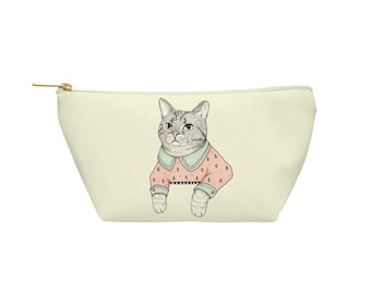 Cat Lady Cat Pouch - Accessory Bag, Cosmetic Case, Makeup Bag, Toiletry Bag, Pencil Pouch - Printed in USA