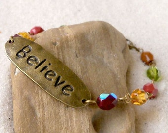 "Glass Bead Bracelet - ""Believe"" Bracelet - Brown and Green Bracelet - Green and Brown Bracelet - Czech Glass Bracelet - Believe Bracelet"