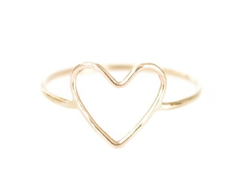 open heart ring dainty gold heart ring bff jewelry valentine ring sweetheart