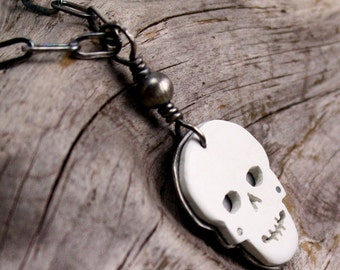 Skully Necklace in Sterling Silver and Vintage Faux Ivory