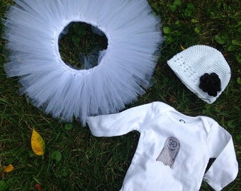 Halloween Ghost Tutu Costume for Baby hat, tutu, bow, and shirt