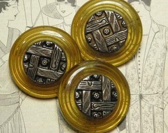 Vintage Bakelite Buttons Applejuice and Metal Woodgrain