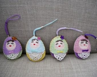 Happy Matryoshka Felt Hanging Decoration (Small Size),Felt Doll, Felt Doll Keychain, Felt Matryoshka, Felt Ornament, Christmas Decoration