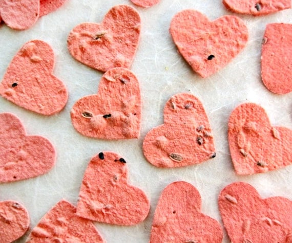 500 Coral Plantable Paper Confetti Hearts - Herb Seed Hearts - Wedding Favors