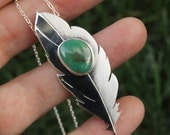 Plume, a Silver and Turquoise feather necklace