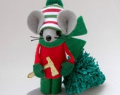 Felt Mice Christmas Ornament Tree Chopper Mouse Red Green Christmas Ornament by Warmth