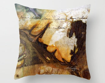 """Love Pillow, Typography, Word Pillow, Warm Tones, Abstract Painting Art, """"Love Prayer No. 1"""" Original abstract by Kathy Morton Stanion  EBSQ"""