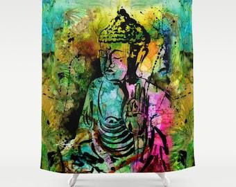 "Buddha Shower Curtain, Zen Buddha Painting,  from Original abstract art ""Buddha Love No. 11""  by Kathy Morton Stanion  EBSQ"