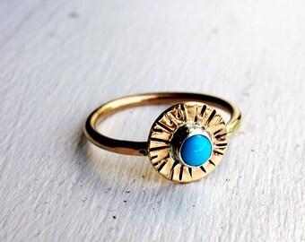Turquoise Starburst 14k Gold Fill Ring