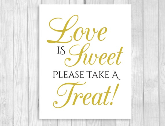 Printable Love is Sweet Take A Treat Wedding or Bridal Shower 5x7 ...