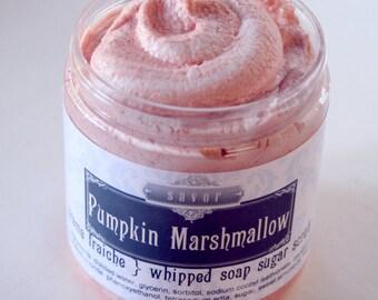Bestseller Sugar Scrub Pumpkin Marshmallow 8 oz Creme Fraiche Whipped Soap Sugar Scrub