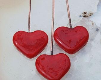 2 Lipstick Red Heart Head Pins Set,  Glass Headpins Handmade lampwork glass headpins by Beadfairy Lampwork