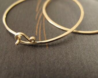 14k Gold Hoop Earrings solid gold endless hammered hoops organic 1.5 inch round 18 gauge hoops 1 1/2 inch