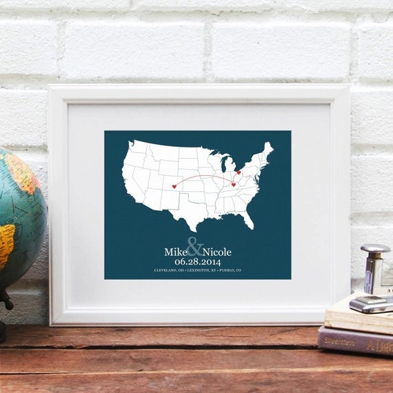 Personalized USA Map, Life History by Location City, Cross Country Road Trip Map, Document Vacation Memories, Retirement - 8x10 Art Print