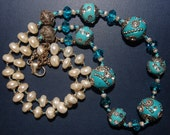 Hand knotted turquoise Chinese Art Deco beads, crystal, fresh water pearls and Bali sterling silver beaded necklace