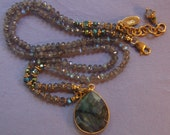 Hand knotted semi precious labradorite and 24k gold vermeil beaded pendant necklace