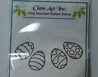"""Sale Easter Eggs Stamp -Class Act Inc. """"Curved Eggs"""" Cling Stamp"""