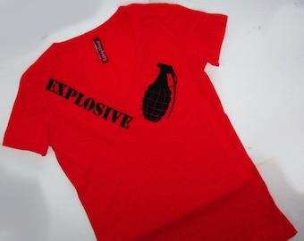 Red womens EXPLOSIVE grenade tshirt Deep V tshirt black safety 3rd  burning man S to XXL Vneck fiery temper danger