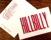 HILLBILLY 6 hand printed letterpress mini prints post cards