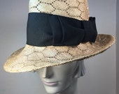 Natural Sisal Honeycomb Fedora hat with an extra wide black satin backed grosgrain bow