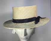 Medium brim STRAW hat/ Honeycomb straw hat/ Boater for women/ Spring-Summer Hat Fashion