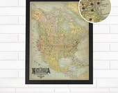Personalized North America Push Pin Travel Map, Customized Vintage Blue North American Pushpin Map Art