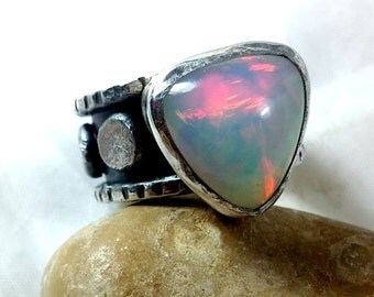 RESERVED FROR A Opal statement Ring, silver and  Ethiopian opal ring,  Chunky sterling and Welo opal ring, birthstone ring