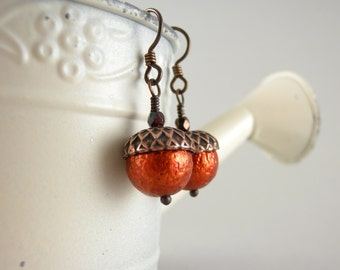 Pumpkin Autumn Acorn Earrings with Free USA Shipping -Fall Accessories
